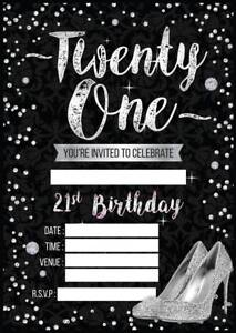 Image Is Loading LADIES 21ST BIRTHDAY PARTY INVITATIONS WOMES INVITES BLACK