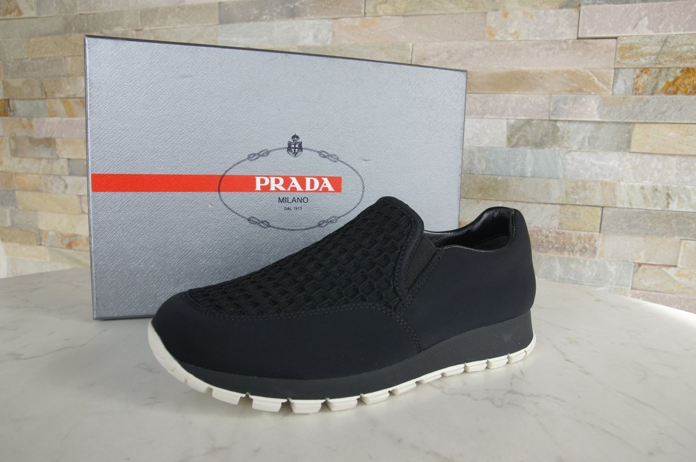 PRADA Wabe Gr 37 Slipper Sneakers Wabe PRADA Slip On Mokassins Schuhe schwarz NEU 4c402a
