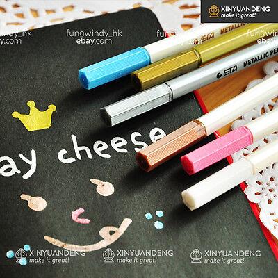 6 Colors Ink Metallic Marker Pens for Scrapbook Card Making DIY Scrapbook Gift