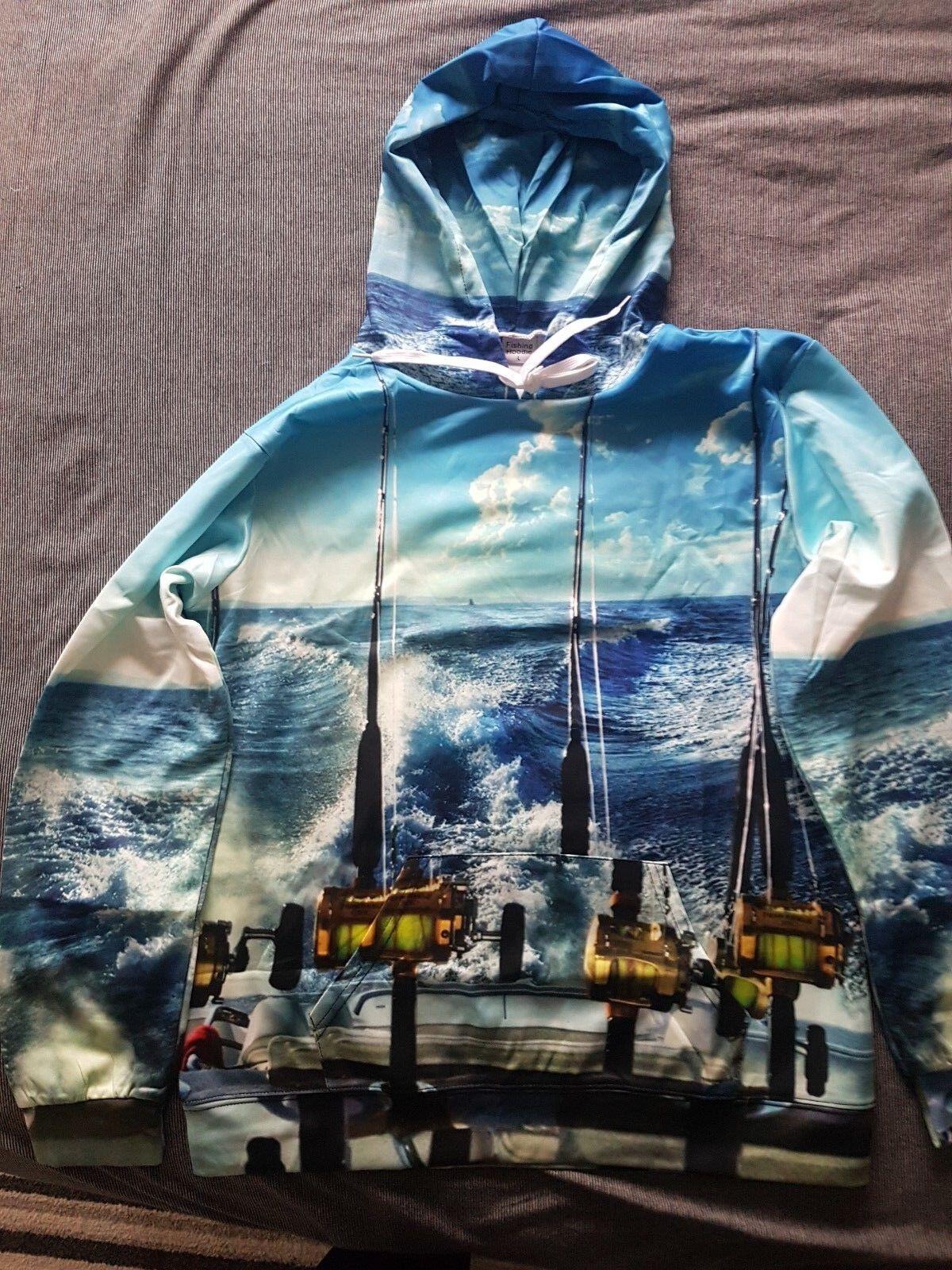 MARLIN Pullover Felpa con cappuccio PESCA DEL TONNO BIG GAME Pullover MARLIN Leggero Mare Penn Mulinello Barca Nuovo 64001a