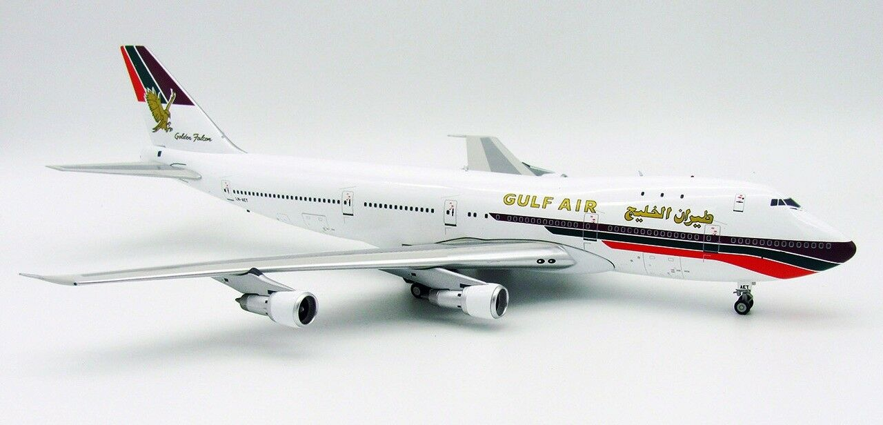 INFLIGHT 200 IF742GF001 1/200 GULF AIR BOEING 747-200 LN-AET CON SUPPORTO Ltd Edition