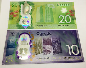 Canada $20 and $10 commemorative  polymer Bank Notes UNC
