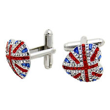Butler and Wilson Crystal Union Jack Heart Stud Cufflinks NEW SALE £34!!!!