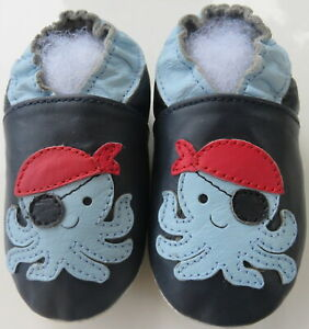soft sole baby leather shoes octopus navy 12-18 m minishoezoo