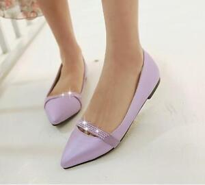 Ballerine mocassini scarpe donna eleganti viola strass  tacco 1 cm comode 8288