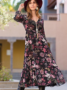 Together Floral Print Fit Flare Floaty Dress Size 16 Uk Bnwt Rrp 72 99 Black Ebay