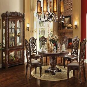 Traditional-Modern-Cherry-Finish-Round-Dining-Table-7pc-Dining-Carved-Side-Chair