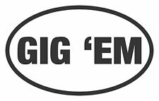 GIG EM TEXAS A&M EURO OVAL DECAL STICKER VINYL CAR WINDOW BUMPER CO110