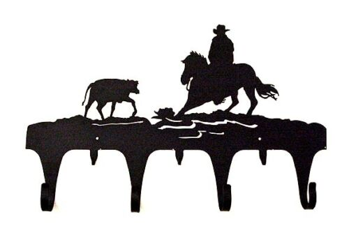 Cutting Horse Coat Rack Hook Horse Cow Rodeo