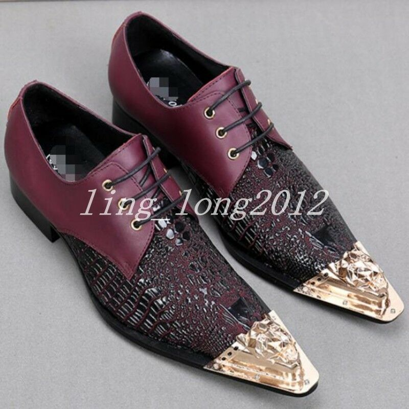 Mens Metal Slip On Pointed Toe Leather Splice Floral Low Top Dress shoes NEW Chz