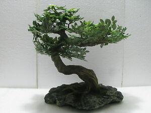 ... BONSAI Artificiale Ficus Benjamin Con Vaso Roccia 40x46x25