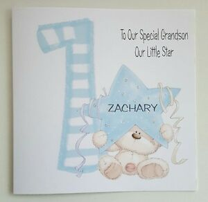 Image Is Loading LARGE PERSONALISED 1ST BIRTHDAY CARD GRANDSON NEPHEW SON