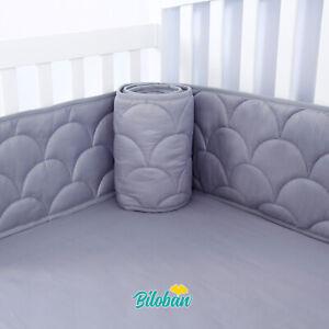 Baby-Breathable-Crib-Bumper-Pad-Protector-Crib-Padded-Liners-4PCs-52-034-x-28-034-Gray