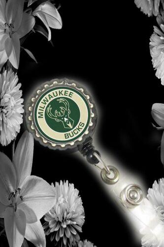 Milwaukee Bucks Retractable Reel ID Badge Holder nurse Dr secretary pediatrics