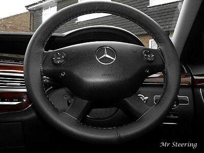 FOR MERCEDES VIANO 2003-2014 BLACK GENUINE REAL LEATHER STEERING WHEEL COVER