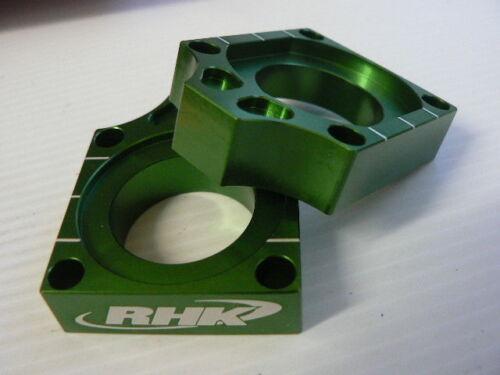 Kawasaki KX450F 2014 Green Axle Blocks Chain Tensioners Adjusters RHK-AB03-E