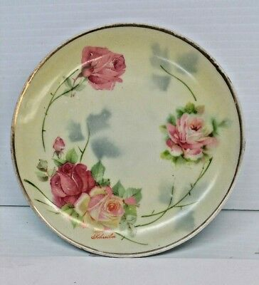 Plates & Chargers The Jonroth Studios Hand Painted Roses Plate Germany Signed Schreibes Hospitable Antique Ceramics & Porcelain