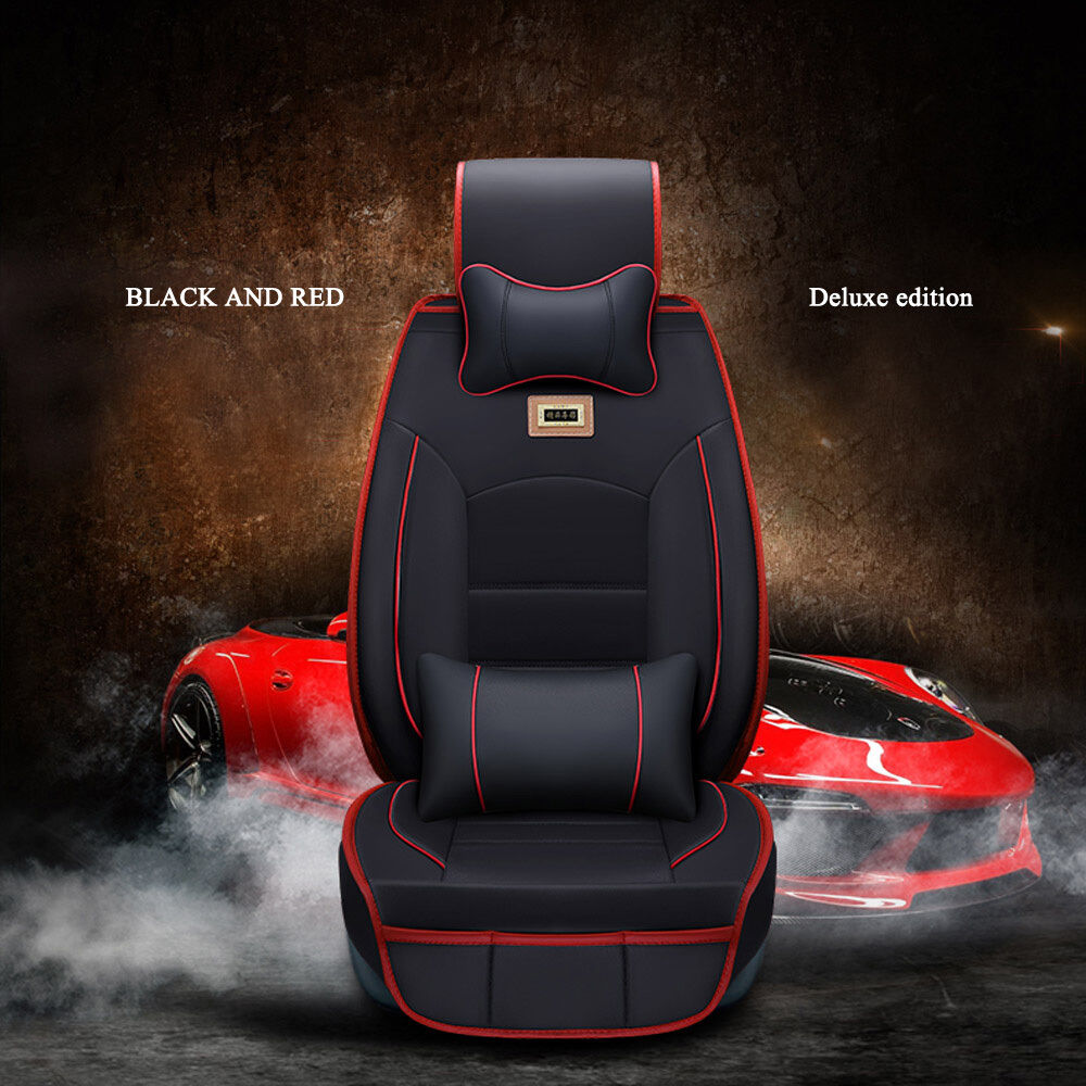 Universal Deluxe Pu Leather Car Seat Cover Suv 5 Seats Front Rear