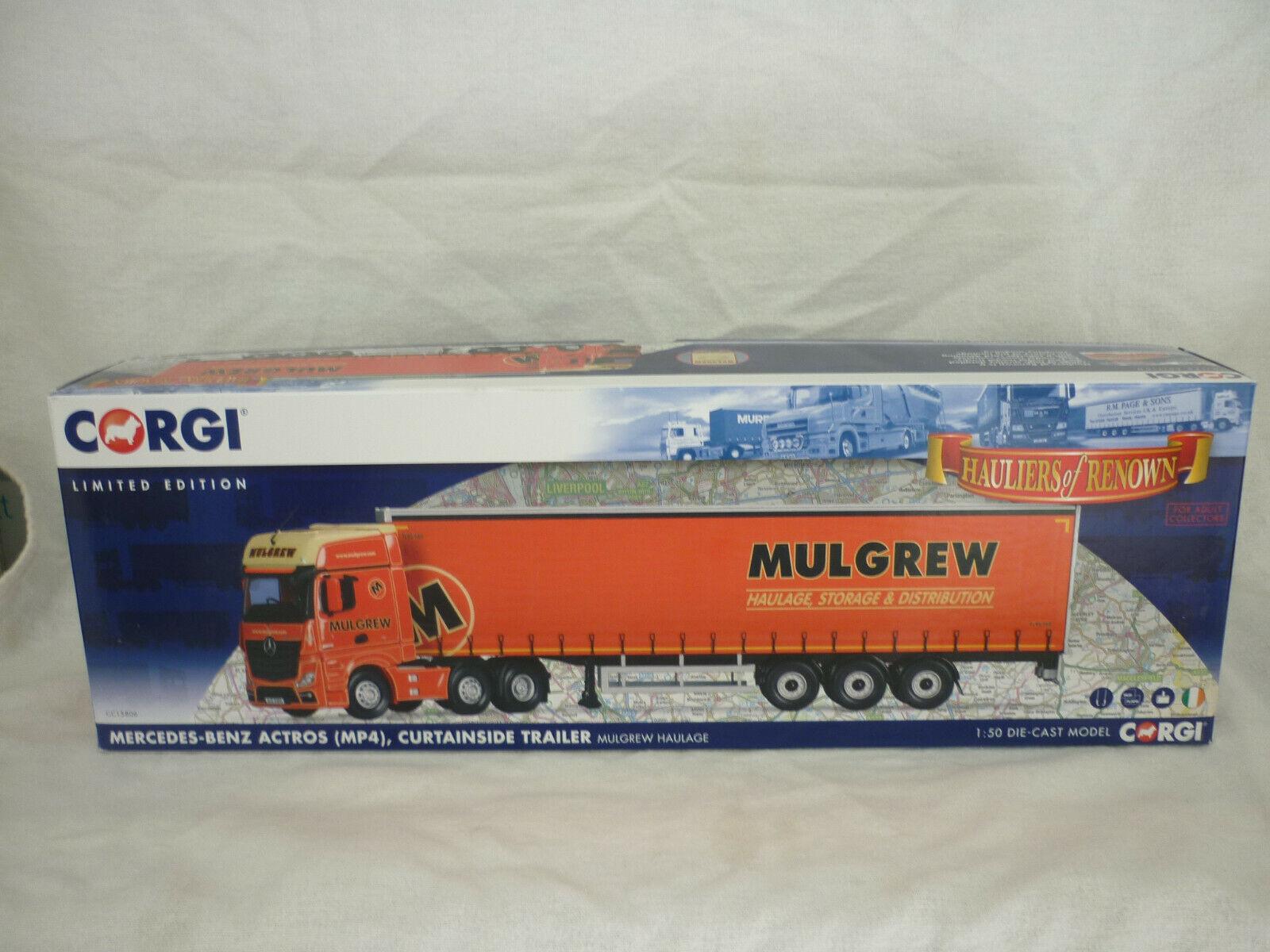 Corgi Modern Truck Haulage CC15806 Merc Actros MP4 Curtainside Mulgrew Haulage