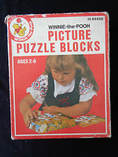 Vintage Disney Winnie The Pooh Picture Puzzle Blocks~From Sears~Complete in Box