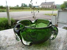 Mid Century Modern Free Form Stretch Biomorphic Chalet Art Glass Emerald Green