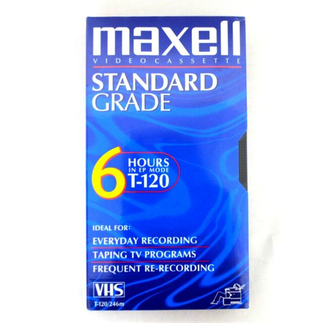 Maxell Blank VHS Videocassette Standard Grade 6 Hours EP Mode T-120 New Sealed