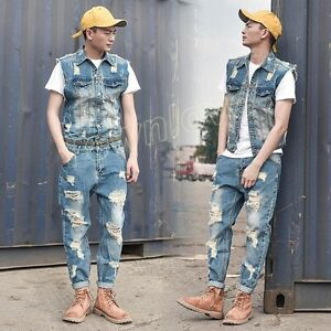 a0cea307939c Men Retro Casual Ripped Denim Overalls Vest Jumpsuits Jeans Rompers ...