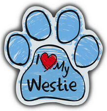 Scribble Paw Dog Magnets: I LOVE MY WESTIE HIGHLAND TERRIER | For Cars, More