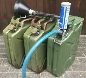 Fuel Can Bundle: 3 x 20ltr Jerry cans+Syphon Pump+Funnel -Motorsport or  Boating? | eBay