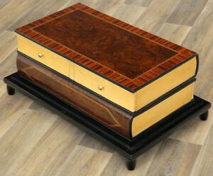 BOOK-SHAPED-COFFEE-TABLE-ART-DECO-STIL-COUCHTISCH-BUCHERTISCH-mit-4-SCHUBLADEN