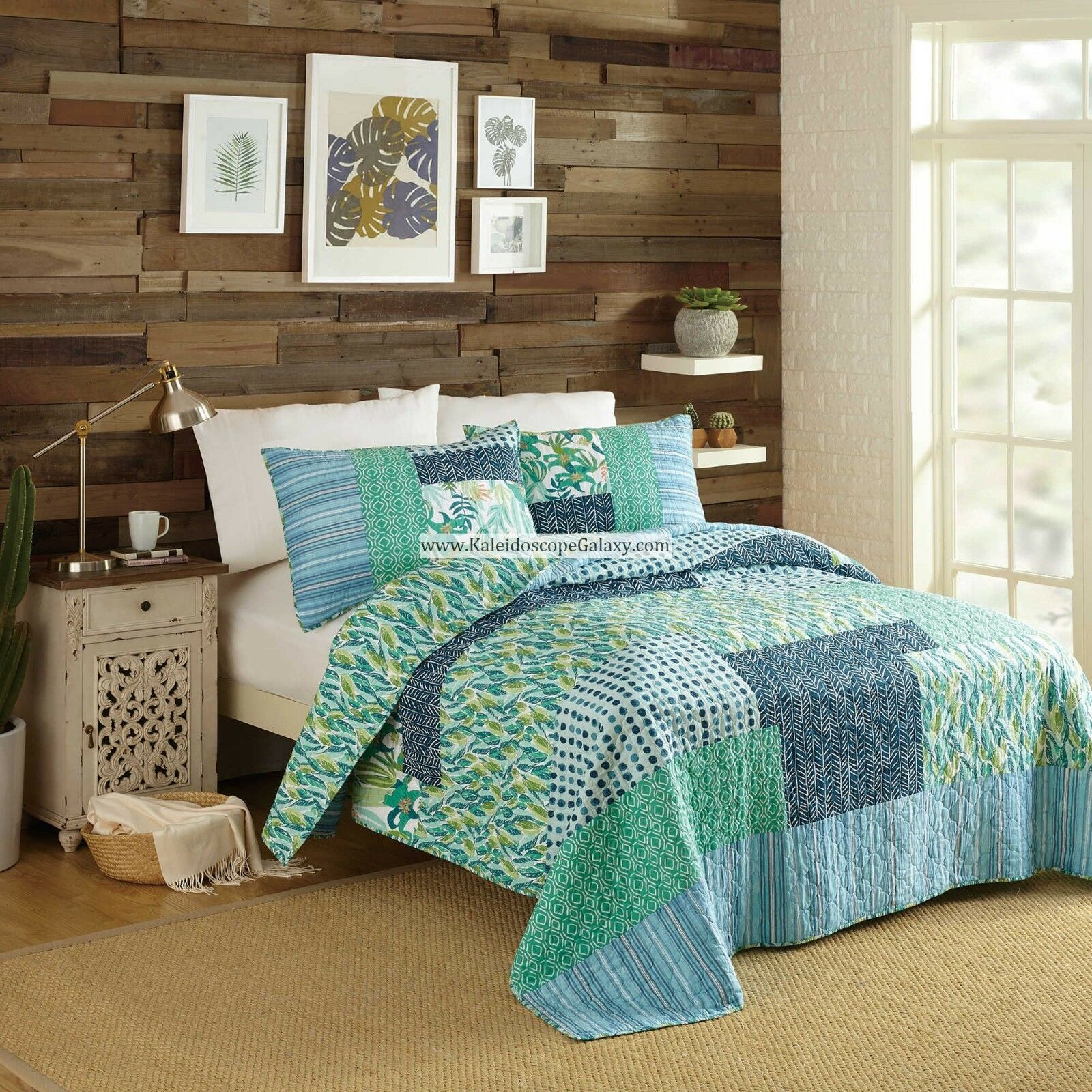 verde blu bianca PATCHWORK NATIVE SPRINGS 3PC FULL QUEEN QUILT BOHEMIAN ABSTRACT