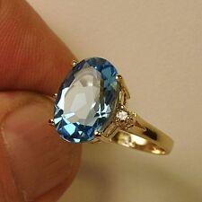 Estate ring 5.7ct Blue Topaz and diamond 14k gold