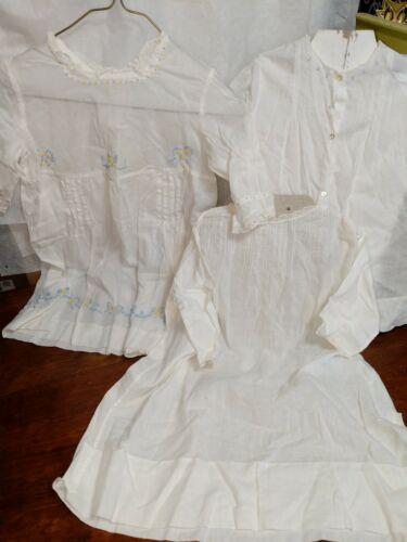 White Cotton Baby Girls Dresses Antique Lot 3