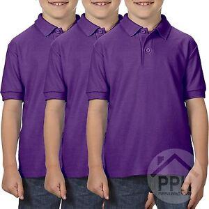 3 Pack Gildan Dry Blend Double Pique Childrens Purple Polo Shirt