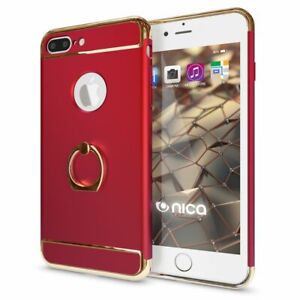 Handy-Huelle-Apple-iPhone-7-8-Plus-Schutz-Case-Cover-Etui-Tasche-Ring-Hart-Schale