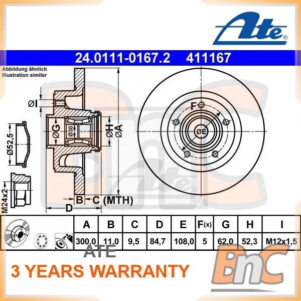 2x ATE arrière Disque de frein Renault VEL Satis BJ0 OEM 24011101672 8671018264