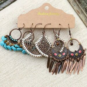 3Pairs-Fashion-Boho-Tassel-Beaded-Earrings-Women-Ethnic-Drop-Dangle-Jewellery