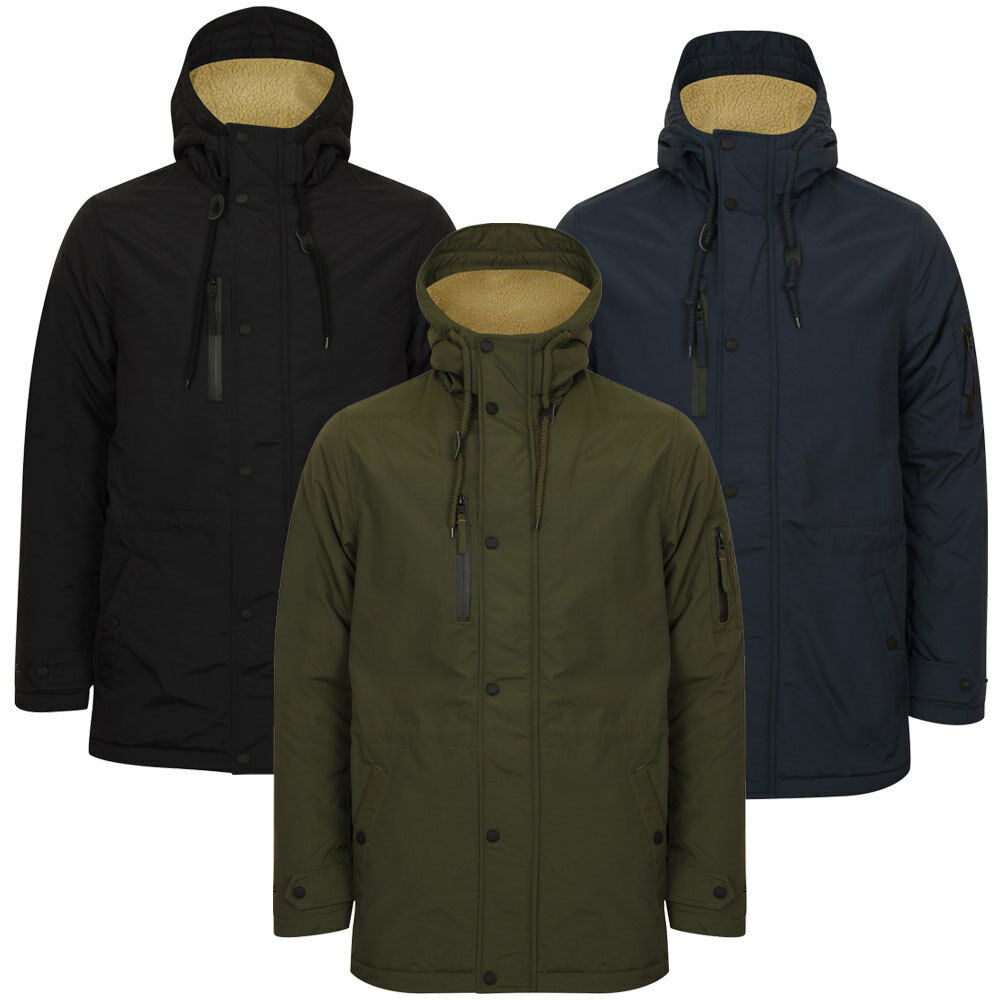 New Mens Tokyo Laundry Patogonia Borg Wool Lined Hooded Parka Coat Size S-XL