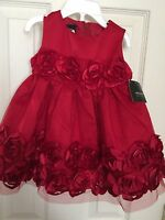 Girls Christmas Dress Red 6/9 Months Infant Dressy Rosette Pageant Valentine