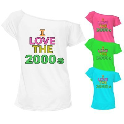 I Love The 2000s Printed T Shirt Top Off Shoulder Ladies Retro Outfit 7052 Lot Zu Verkaufen
