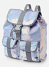 Justice Girls Silver//Blue Flip Sequin Full Size Backpack NWT
