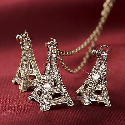 18k rose gold gf made with SWAROVSKI crystal Eiffel tower earrings necklace set