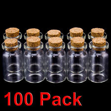 "100 pk 1.5"" Mini Glass Bottles Cork Top Message Wedding Wish Jewelry Party Favor"