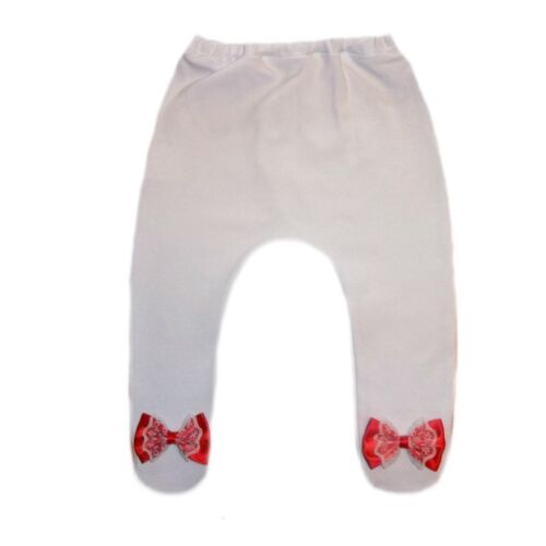 Baby Girls White Tights with Red Lace Bows 6 Preemie Newborn Infant Sizes.