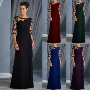 Womans-Long-Lace-3-4-Sleeve-Formal-Evening-Dress-Ruffles-Cocktail-Party-Dresses