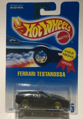 HOT WHEELS FERRARI TESTAROSSA #35 Metallic Black w// Gold Rims New Card 1991