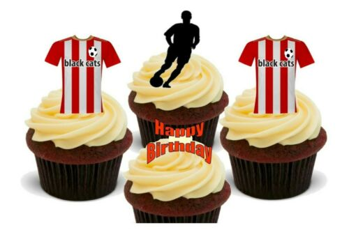 Sunderland Colours Football Happy Birthday Mix Stand Up Premium Card Cake Topper