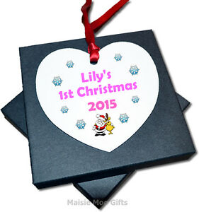 Personalised baby 39 s 1st first christmas hanging heart tree for Baby s first christmas decoration