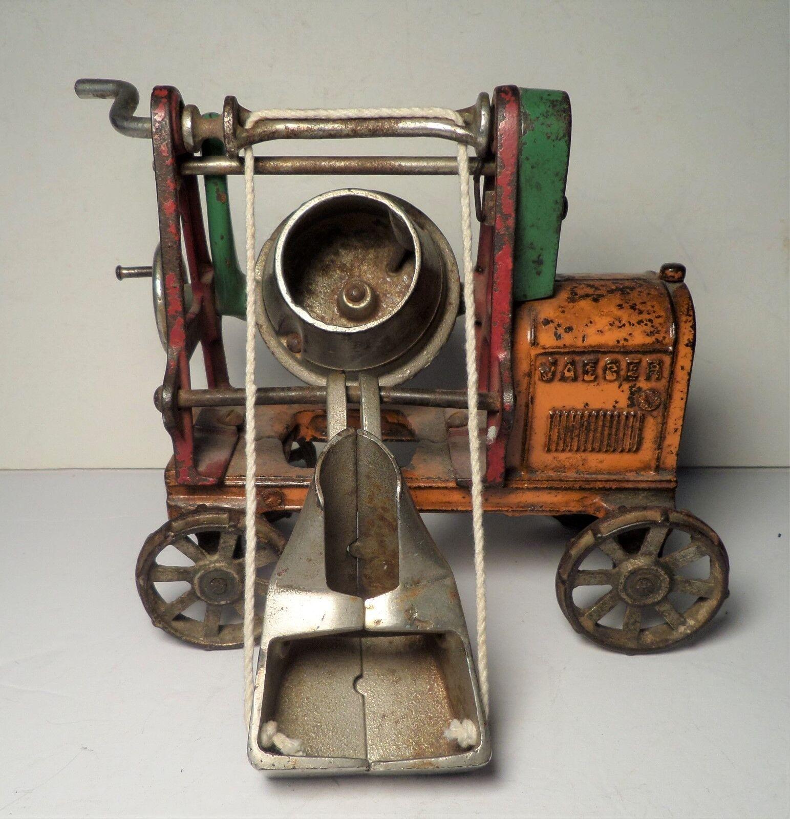 Early Large Kenton Jaeger Cement Mixer 7  Farm Toy Cast Iron