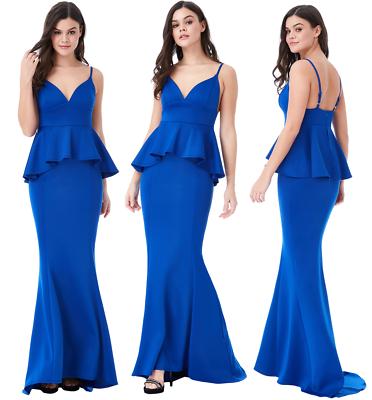 Diszipliniert Goddess London Blue V Neck Fishtail Peplum Maxi Evening Dress Prom Party Ball RegelmäßIges TeegeträNk Verbessert Ihre Gesundheit